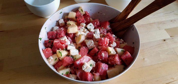 Melone-Apfel-Feta-Minze-Salat